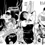 'Rum lad' issue 9 zine cover. Black and white illustration of a music band on stage. Female vocalist and male guitarist in front of two other band members.