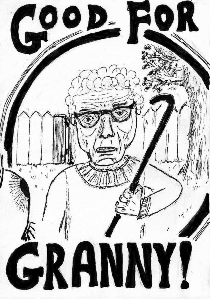 Black and white illustration of a granny holding a crowbar. Bold handwritten title.