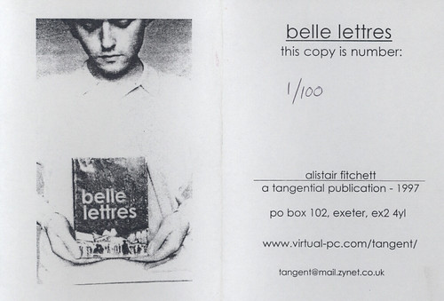 Black and white 'Belle Lettres' zine cover. Photograph of a man holding a copy of the zine. Print font text title.