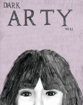 Black and white pencil drawing. Dark haired girl's top half face at the bottom of the cover. Handwritten title at the top.