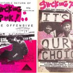 """Two black, white and pink """"Shocking Pink"""" covers. Photographs of two people on the beach with a pier in the background, and three women pro-choice protesters."""