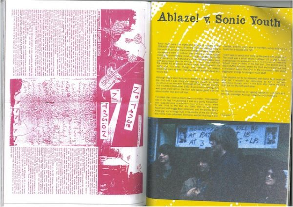 Two pages from Ablaze! zine. One is mostly text, all in pink. Second is also mostly text on a yellow background with a colour photograph of Sonic Youth band.