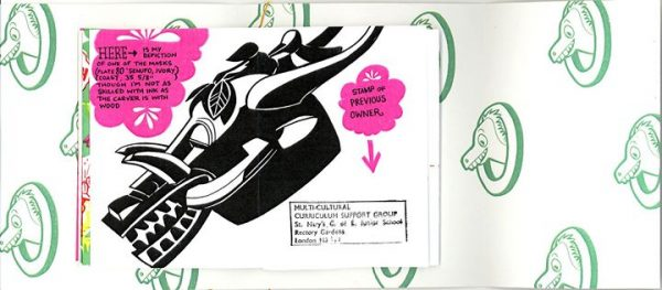 """Colour concertina """"The pocket onager"""" zine interior with illustrations and hand drawn and printed text."""