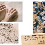 Four colour photographs from 'Good girls rot bad girls too' zine. Couple of hands, shells on sand, dry cracked earth and handwritten note.