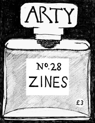 Black and white illustration of a Chanel No.5 perfume bottle. Chandwritten title and issue of the zine on the bottle's cap and label.