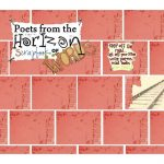 'Poets from the horizon' zine cover. Colour illustration of red brick wall with a few pieces of paper attached to it: a handwritten title, a note and an image of the train rails.