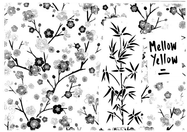 Black and white 'Mellow Yellow' zine cover. Flower pattern over the front and back cover. Bamboo plant black line drawing and hand written title on a front cover.