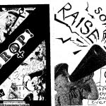 'Raise some hell' black and white zine front and back cover. Photograph of a child speaking through a megaphone on front cover. Handwritten title. Collage of cartoon characters and Barbie dolls on the back cover.