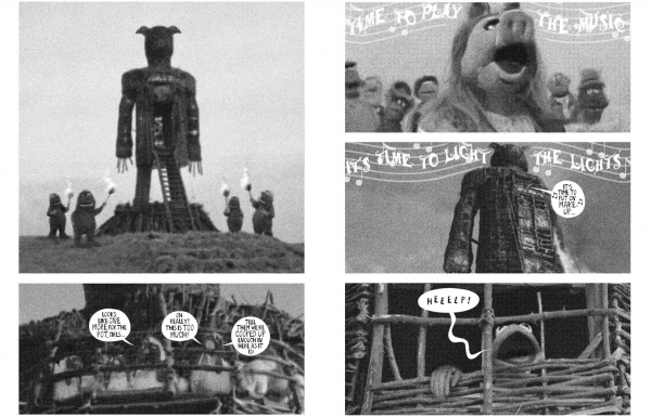 Black and white two page comic strip from ' A Muppet wicker man' zine. Stills from 'A wicker man' film with Muppets in place of people.