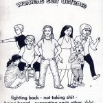 'A zine about womens self defence' black and white cover. Drawing of a group of females of different ages, some in martial art stances.