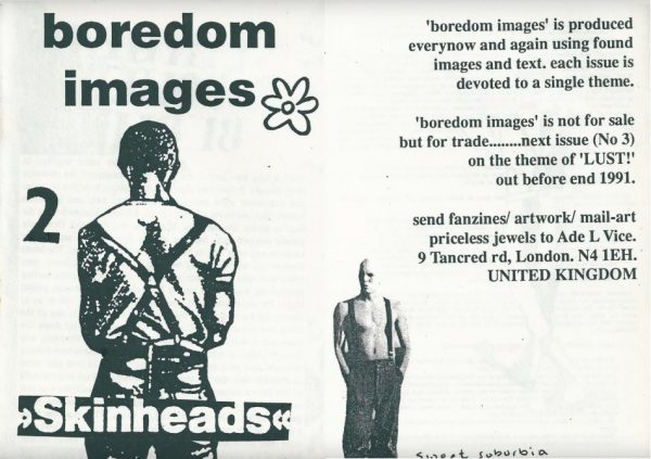 'Boredom images' issue 2 black and white zine cover. Illustration of a shaved head man in trouser braces facing away. Printed bold text title.