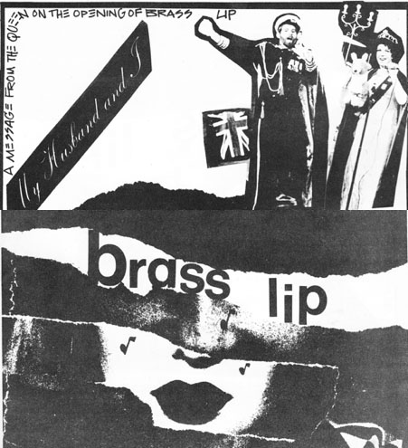 Black and white collage. A face built from a couple of other faces with the title text running across the eyes. Photo of a couple dressed like king and queen in a top section of the cover.