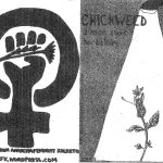 """Black and white back and front """"Chickweed"""" zine cover. Illustration of a flower in a lamp post light and a female symbol with a fist holding a flower in its centre."""