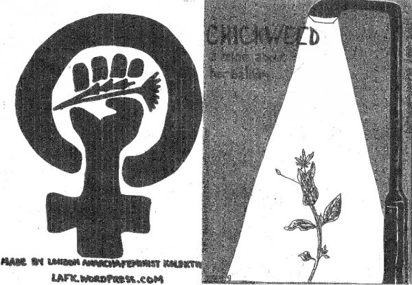 """Black and white, back and front """"Chickweed"""" zine cover. Illustration of flower in lamp post light and female symbol with a fist holding a flower in its centre."""
