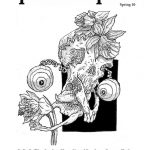Black and white 'Yack 'n Yum' spring 2010 issue zine cover. Phantasmagoria like illustration consisting of a skull with eyeballs on a coiled cord popping out of the eye-sockets and narcissus flowers.