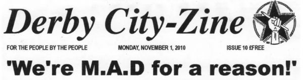 """Black and white """"Derby City-Zine"""" title part of the cover. Printed text in various fonts with hand drawn illustration."""