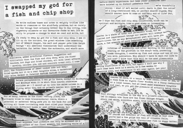Black and white inside of 'Fortunes of the sea-sick' zine. Typewriter font text over a Japanese style illustration of the sea waves.