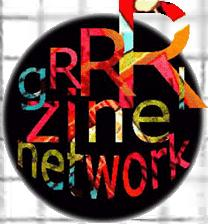 Rainbow coloured Grrrl Zine Network logo in a black circle. Plays a decorative function here.