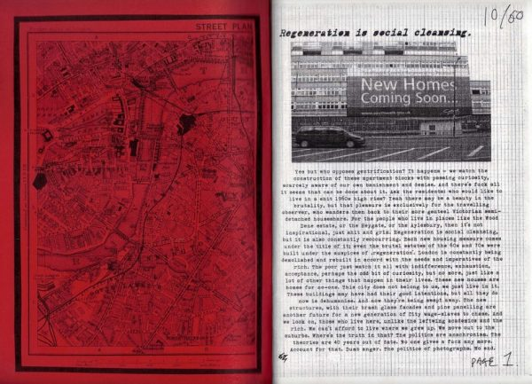John Marr zine. Black city map on red background on inside cover and black and white page one, text and photograph of a building.