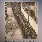 """""""No quarter"""" issue 4 zine cover. Black and white photograph of a long line of people, most probably from the second world war time. Bluish frame and white printed title text."""