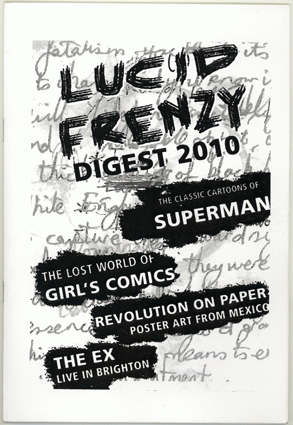 Black and white 'Lucid frenzy digest 2010' cover. Text only. Mixture of print and handwritten fonts.