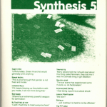 Dark green and white 'Syntesis' issue 5 zine cover. Mostly text too small to read. Bold print font title in white over green photograph that is very dark and indiscernible.