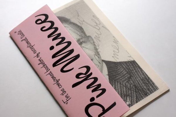 'Pink Mince' zine cover. Black bold vertical text title on pink background. Cover page folded in half revealing half of a black and white photograph of a man.