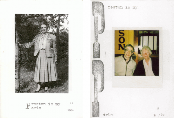 Two covers of 'Preston is my Paris' zine. Black and white photograph of a middle aged woman dressed in the1940s style. Colour photograph of an elderly couple.