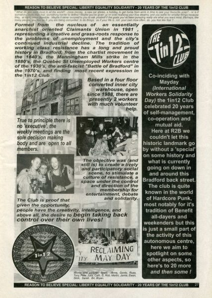 'Reason to believe' zine page. Black and white, printed, mostly text. Small photographs of an old warehouse, the 1 in 12 club meetings, and May Day protest.