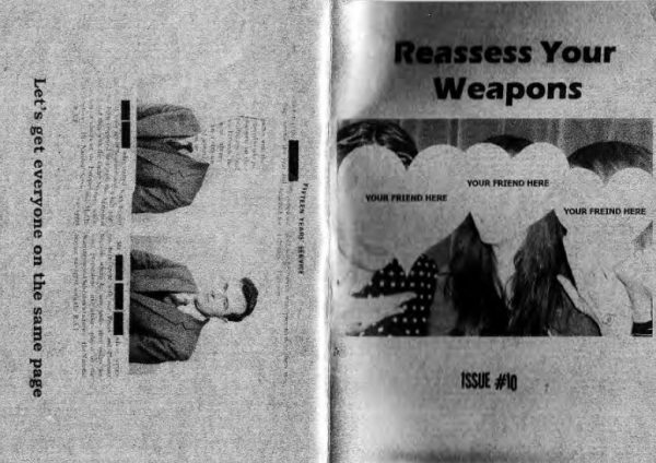 Black and white front and back 'Reassess your weapons' zine cover. Photograph of three women with heart shaped cut-outs instead of faces. Photograph of a man in suit on the back cover. Printed text.