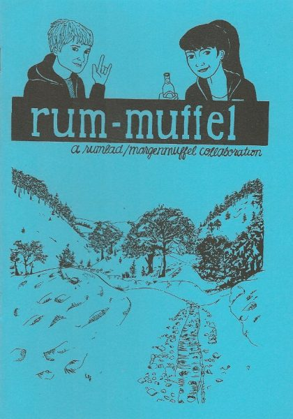 'Rum-muffel' zine cover. Black drawing of a country lane covered with snow and two figures over the handwritten title. Bright blue background.