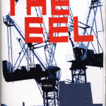"""Colour, mostly black and dark blue """"The Eel"""" issue 11 zine cover. Photograph of two tower cranes. Bold red printed title on the top."""