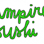 Colour 'Vampire sushi distro' logo. Handwritten text and a small drawing of a vampire girl reading a magazine.