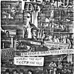 """Black and white """"Gutterfag"""" photo-collage zine cover. Cut and paste photos of punk bands. Printed and handwritten text."""