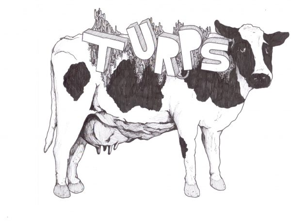 """Black and white """"Turps"""" zine cover. Hand drawn illustration of a cow and title text."""