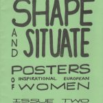 """""""Shape and situate"""" zine cover. Black handwritten title on green paper."""