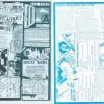 """Black, white and blue """"Crowbar"""" zine interior double page spread. Cut and paste collaged printed and hand drawn illustrations and texts."""