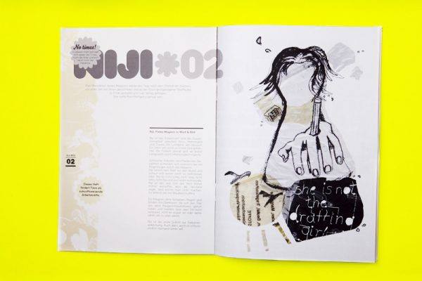 """""""Niji"""" issue 2 zine interior double page spread. A mixture of printed text and collaged illustration using muted tones of grey and brown."""