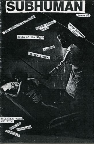 """Black and white """"Subhuman"""" issue 3 zine cover. Cut and paste photograph and typewritten text showing two women in a corporal punishment scenario."""