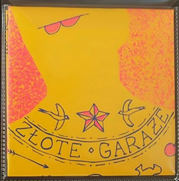 """""""Zlote garaze"""" square zine cover on yellow paper of red and black hand drawn and printed illustration and text of possibly a head and shoulders with tattoos."""
