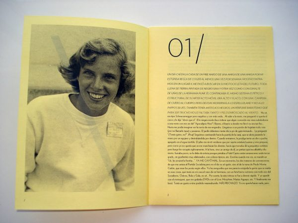 """""""Gonzalo/Gustavo/Gisella"""" zine's interior double page spread. Yellow paper. Left page is a photograph of a young smiling woman in a sweatshirt. Right page is print text in various fonts and sizes."""