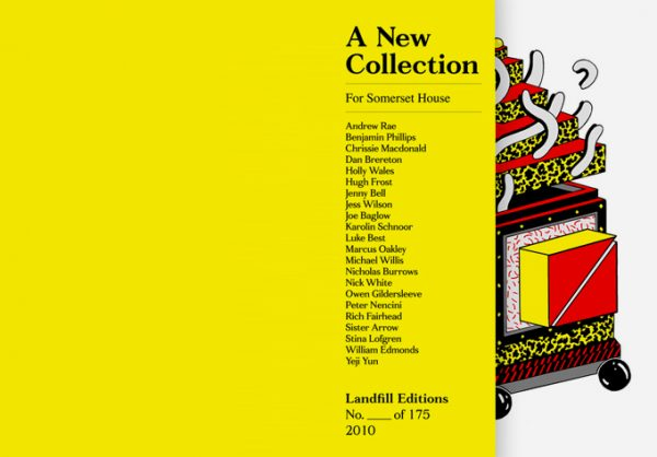 """Colour photograph of back and front """"A new collection""""catalogue cover. Yellow background with black printed text and colour illustration."""