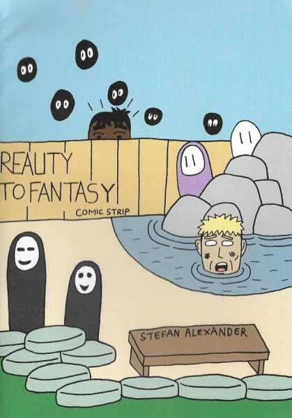 """Colour hand drawn """"Reality to fantasy/Here I am"""" zine cover. Image comprising of ghosts, a man in a pond and a man peering over a fence. Hand drawn text"""
