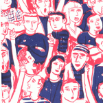 """Blue, red and white """"Who ate the pies"""" zine cover. Colour hand drawn illustration of football supporters at a football match."""