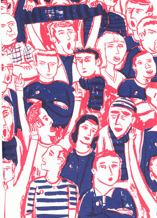 """Blue, red and white """"Who ate the pies"""" zine cover. Hand drawn illustration of football supporters at a football match."""