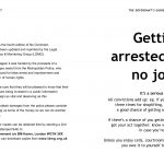 """""""The defendant's guide to arrest """" double page spread, mainly text with a thumbnail black and white illustration of a hand clasping the wrist of a police officer holding a truncheon."""