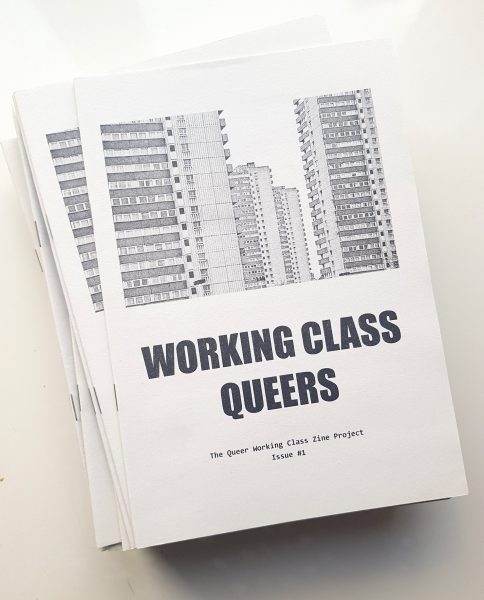 """Black and white """"Working class queers"""" title and picture of a tower block estate."""