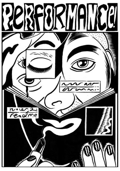 Black and white cover featuring an line drawing illustration of abstract face. The face is distorted with an overlapping image of a closed eye in a box obscuring the image of the eye underneath, and with another image of a bleeding eye placed over the cheek. The face is further distorted and obscured with an illustration of a booklet held over the face. The booklet obscuring the lower part of the face includes a lipstick outline of a mouth. The title 'Performance' sits at the top of the cover art. The text appears in alternating black and white letters on contrasting background in a cut and paste effect.