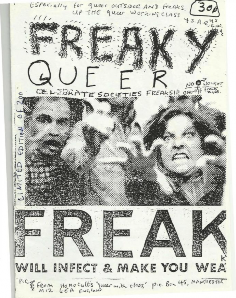"""""""Freaky queer"""" cover with picture of zombie acting people and text """"FREAK. Will infect & make you weak"""""""