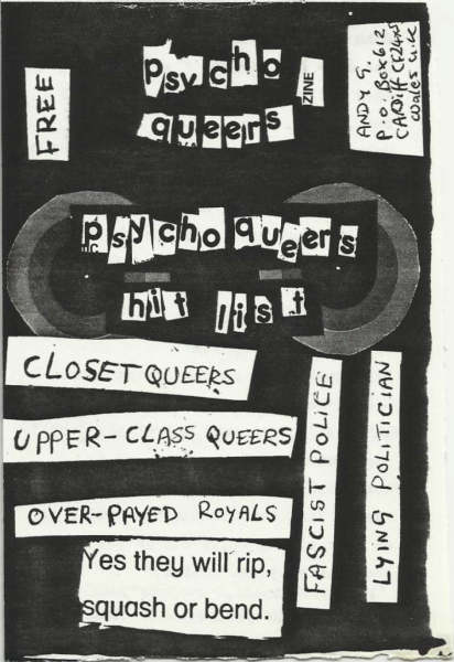 """Cover of """"Psycho queers"""". Collage fragments of texts."""